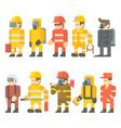 Flat design of rescue worker set vector image
