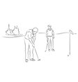 Friends play golf vector image
