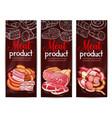 meat sausage ham bacon chalkboard banner design vector image