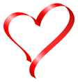 Red ribbon in heart shape vector image