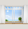 sliding window of the hotel vector image