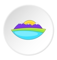 Mountain and sun icon flat style vector image