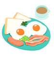 breakfast and hot coffee vector image