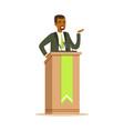 politician man speaking behind the podium public vector image