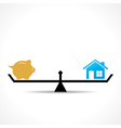 compare money and home concept vector image vector image