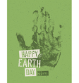 Happy Earth Day Poster Symbolic hand-print on the vector image vector image