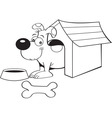 Cartoon dog in a doghouse vector image