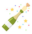 champagne bottle pop flat icon new year vector image