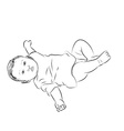 Drawing of baby lying with turning face up vector image