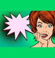 pop art woman thinking vector image