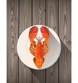 Lobster on a plate vector image
