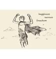 Drawn boy freedom creativity consept sketch vector image