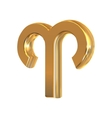 Golden zodiac sign Aries object made with mesh vector image