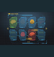 set of hud infographic panels with brain head-up vector image