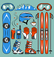 Set of skiing and snowboarding vector image