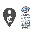 Cent Map Marker Flat Icon With Bonus vector image