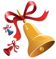 Christmas bell with red ribbon vector image