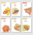 hand drawn sea food cards brochure design vector image