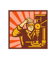 Male trade worker operating a bench drill vector image