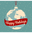 earth globe Christmas greeting card design vector image