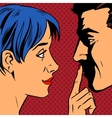Stop woman invites man to stay put a finger to his vector image
