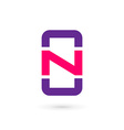 Mobile phone app letter N logo icon design vector image