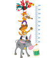 Meter wall with funny Bremen Town Musicians vector image