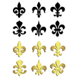 Fleur de lis in black and gold vector image vector image