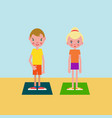 boy and girl got ready for the physical exercises vector image