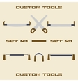 Different carpentry tool silhouette icon set vector image