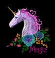fantasy unicorn embroidery patch sticker pink vector image
