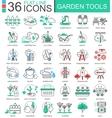 Garden tools modern color flat line outline vector image