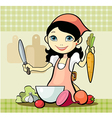 girl prepares a meal vector image