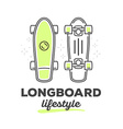 longboard with text on white background vector image