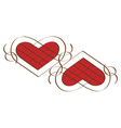 Two calligraphic hearts vector image