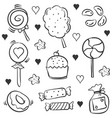 many various candy hand draw doodles vector image
