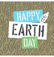Happy Earth Day Logotype on Leaves Background vector image