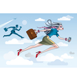 Businesswoman Running Through Clouds vector image vector image