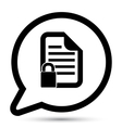 bubble with document lock icon vector image