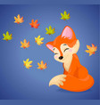 cute fox cartoon character autumn seasonal vector image