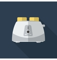 Flat toaster with long shadow icon vector image