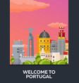 poster travel to portugal skyline flat vector image