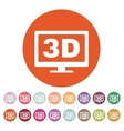The 3d icon Monitor and display screen movie vector image
