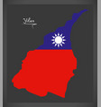 yilan taiwan map with taiwanese national flag vector image