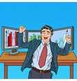 Pop Art Successful Businessman with Computers vector image