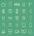 household line color icons on green background vector image vector image