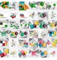 Mega collection of geometric paper style banners vector image