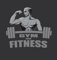 Fitness gym logo mockup bodybuilder showing biceps vector image