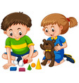 boy and girl play toys vector image