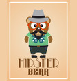 funny hipster bear vector image